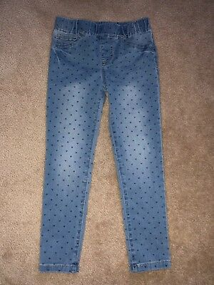 Brand New Girls' Cat & Jack Heart Print Blue Denims Jeans / Pants: Size 6