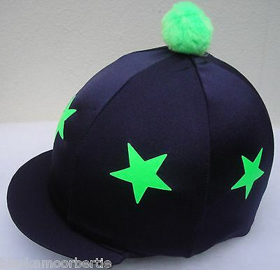 Riding Hat Silk Skull cap Cover * BLACK LIME GREEN STARS * With OR w/o Pompom