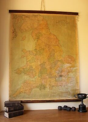 Bartholomew's General Wall Map of England and Wales. Vintage Hanging Roll Map
