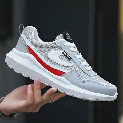 Mens Running Trainers Lace Up Flat Comfy Fitness Gym Sports Shoes Lightweigh UK
