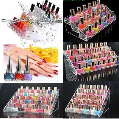 Clear Acrylic Nail Polish Tiers Cosmetic Varnish Display Stand Rack Organizer UK