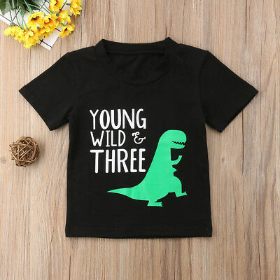 Kids Baby Girl Boy Young Wild Three Dinosaur Tops T-shirts Blouse Black Clothes
