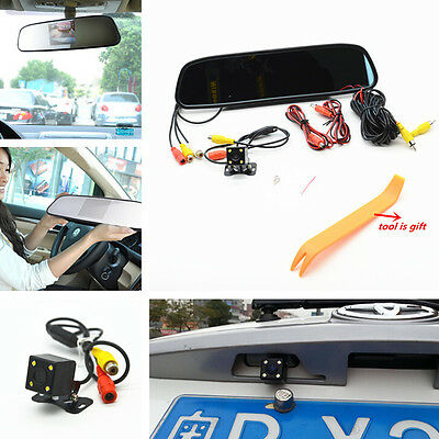 """Car 4 LED Night Reverse Parking Vision HD Camera 4.3""""LCD Rearview Mirror Monitor"""