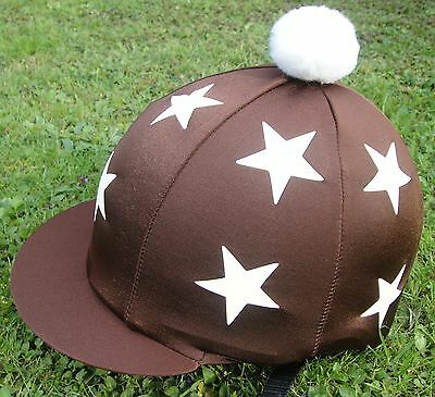Riding Hat Silk Skull cap Cover BROWN * CREAM STARS With OR w/o Pompom