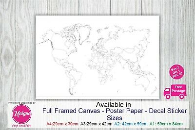 World Map Colour In colouring map Various Sizes  Print Poster Canvas Decal