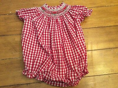 watermelon red farm picnic embroidered smocked bubble romper Sunsuit 12 month