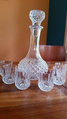Stunning Longchamps Cristal D'Arques of France Decanter and 6 Shot Glasses