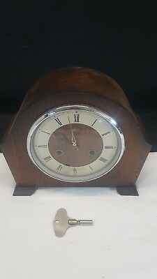 Vintage Large Smiths Enfield 8 Day Chiming Wind Up Mantel Clock, with Key
