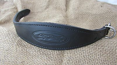 Greyhound collar, black leather, embossed with padded lining.