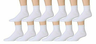 12 Pairs Value Pack of Wholesale Sock Deals Mens Ankle Socks, White, 10-13
