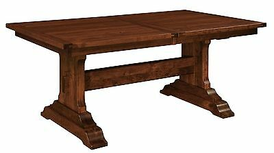 Amish Rustic Farmhouse Trestle Dining Table Solid Wood Plank