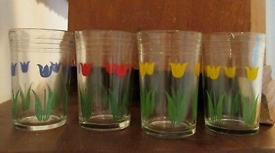 4 Vintage Swanky Swig Juice Glasses with Tulips, Blue,Yellow, Red