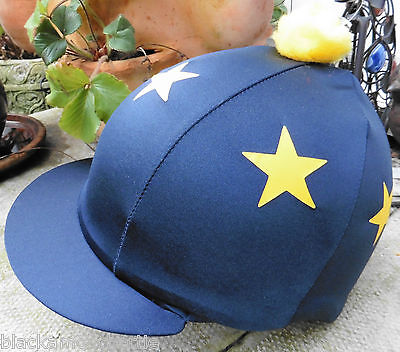Riding Hat Silk Skull cap Cover NAVY BLUE *  YELLOW  STARS With OR w/o Pompom