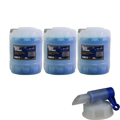3X 20 L Mannol Antifreeze Longterm Anti-Freeze AG11 Blue + DRAIN COCK