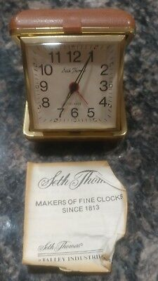 Vintage Seth Thomas Wind Up Travel Alarm Clock Square Case