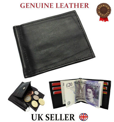 Mens Real Leather Thin Wallet Money Clip SLIM Cash Credit Card Coin Soft Quality