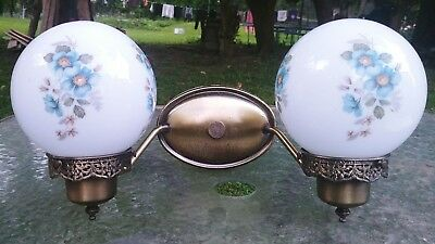 Vintage Brass Wall Sconce Double Light With Globe shades Mid Century