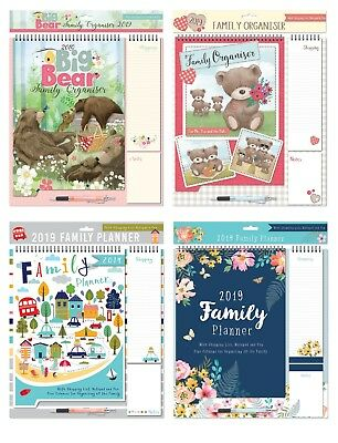 2019 Family Organiser Planner Memo Pads, Pen & Shopping List Teddy bear Design