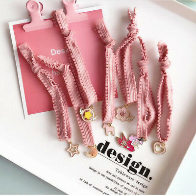 Pink Kids Girl Lady Elastic Rubber Hair Bands Ponytail Holder Head Rope Ties New
