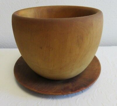 Primitive Antique Wood Bowl and Plate, Small Wooden 2 Piece Set