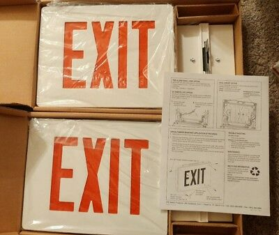 Lot 2 Cast Aluminum Led Emergency Exit Sign Single Face Gc Series White Red