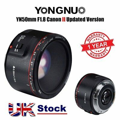 New Updated Version Yongnuo YN 50mm F 1.8 II AF MF Prime Fixed Lens for Canon UK