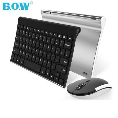 Wireless Keyboard Mouse Combo Quiet 2.4G Metal Ultra Slim Portable Cordless