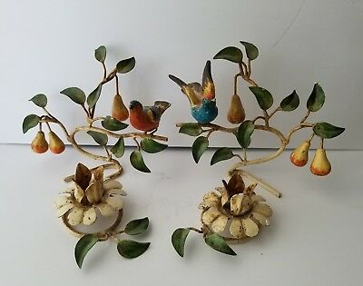 Vintage Tole Metal Candle Holders Hand Painted Partridge in a Pear Tree Set of 2