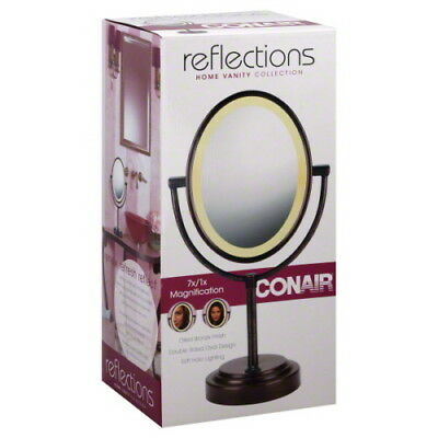 Conair Double-Sided Lighted Makeup Mirror Vanity Mirror; 1x/7x magnification nib