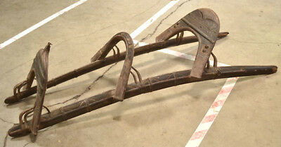 Antique Middle Eastern Old Hand Made Camel Saddle Wood & Wrought Iron Unusual