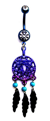 Ombre Dream Catcher Blue Purple Pink * Surgical Steel Dangle Belly Navel Ring