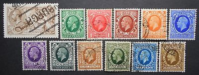 Great Britain 1918-1934 group of stamps, Mi #141 III, 175-185, used