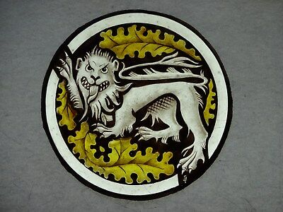 Beautiful Stained glass.LION.Hand painted.Kiln fired.Diameter -170 mm..