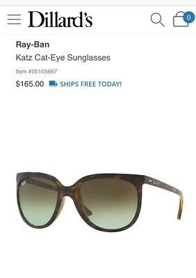 Ray ban Womens Sunglasses Brown Tortoise Havana RB412657 New NWT Case / Cloth