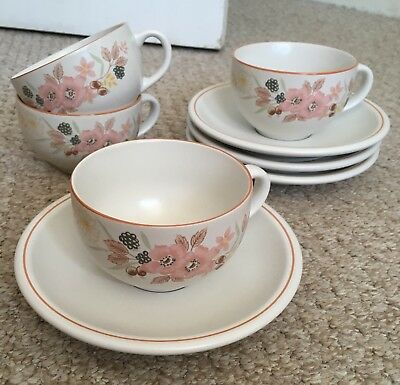 BOOTS HEDGE ROSE TEA CUPS AND SAUCERS, SET OF FOUR. No Signs Of Being Used.