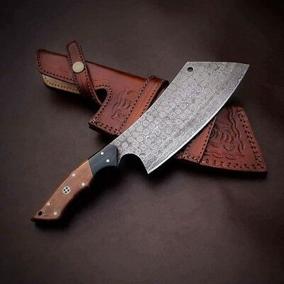 "Handmade 7"" Heavy Duty Meat Cleaver Chef Knife Butcher Chopper in Walnut Wood"