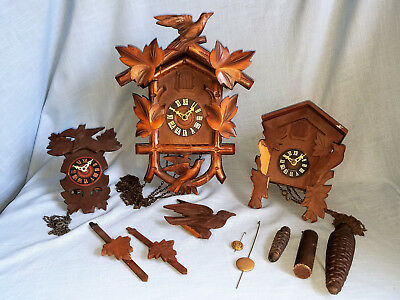 Lot of 3 Antique German Cuckoo Black Forest Wall Clocks with Extra Parts