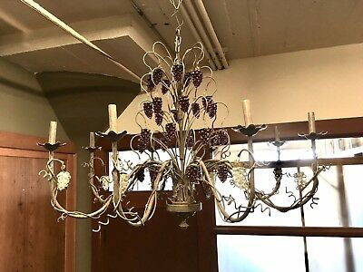 1980s Tuscan Style Tole Painted 8 Arm Chandelier Grape Bunch Crystals Wine Bar