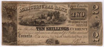 1835 Upper Canada Agricultural Bank Note $2 = 10 Shillings S1558 ERROR