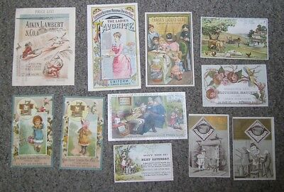 VICTORIAN TRADE CARDS - Lot of 11