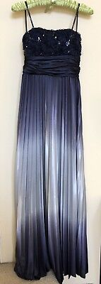Speechless Satin Strapless Tube Dress Ombre Blue Grey Pleated Size 1 Dry Cleaned