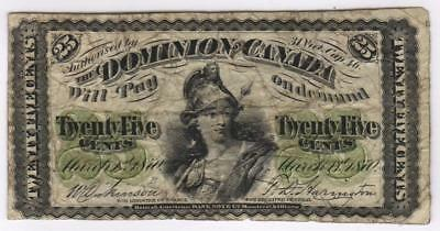 """1870 25-cent Dominion of Canada Note p.8c - Shinplaster - Plate Letter """"B"""""""