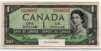 1954 Bank of Canada $1 Note p.67b - Devil's Face