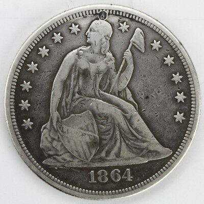 1864 Seated Liberty Dollar Holed/Filled