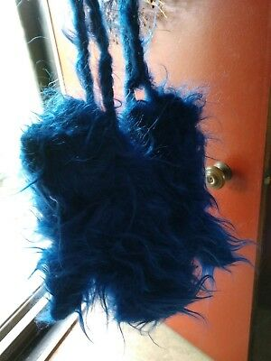 Fuzzy and Fluffy MOHAIR Mittens with Ties at Wrists.  BLUE, Handknit, Wool