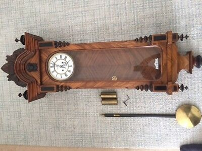 Vienna Regulator 8 Day Wall Clock Circa 1900 in Beautiful Walnut