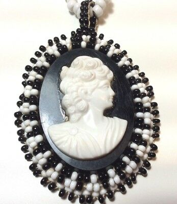 Vintage Cameo Necklace Female figure black and white glass seeds