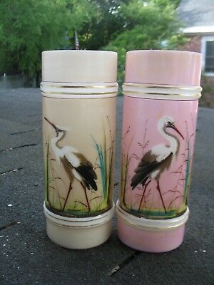 Antique French Opaline Glass Enamel Painted Vases Cranes or Storks Lot of 2 nice