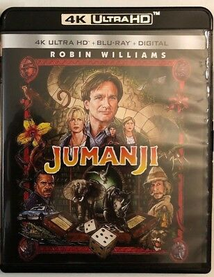 Jumanji 4K Ultra Hd Blu Ray 2 Disc Set Robin Williams Free World Wide Shipping