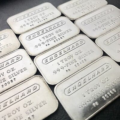 Lot Of 10 - Vintage Engelhard Serialized 1 oz .999 Fine Silver Bars (1052)
